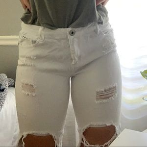 White distressed pants.